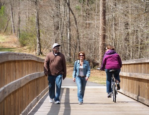 The trail is paved with a 70-foot bridge over the Neuse River.