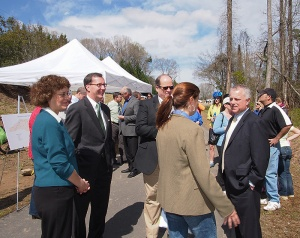 Clayton Official Stacy Beard, center, talks with (from left) Carol Tingley, deputy director of the Division of Parks and Recreation, Brad Ives, assistant secretary of the Department of Environment and Natural Resources, Lewis Ledford, state parks director, and U.S. Rep. Mike McIntyre.