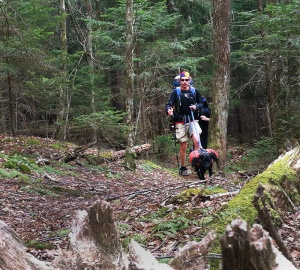 Trevor Thomas and his guide dog Tennille tackling a mountain section of the Mountains-to-Sea State Trail.