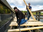 Volunteers helped rebuild a fishing pier at Falls Lake.