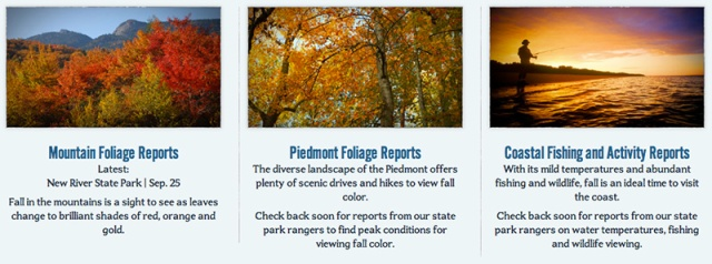 The state's tourism division features fall color destinations at www.visitnc.com