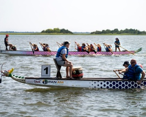 Dragon boat races pitted teams in head-to-head competition.