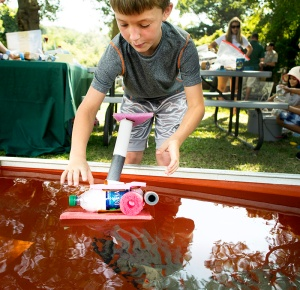 Youngsters built toy boats from recycled materials.