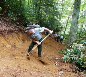 A portion of the Profile Trail at Grandfather Mountain State Park was rerouted during the class.
