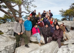 This group climbed to Hanging Rock in cold, blustery weather.