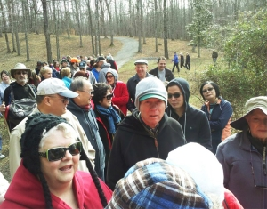At Haw River State Park, 115 people gathered onto trails.