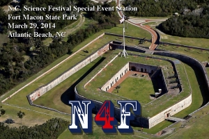 Fort Macon's special HAM radio postcard with its call signal N4F.