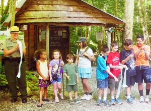 Kids helped dedicated a new TRACK Trail at Grandfather Mountain State Park.