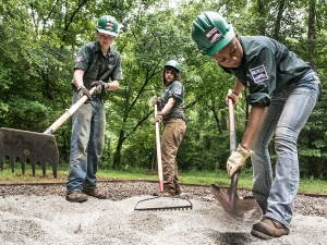 NCYCC members improve canoe-in campsites at Pilot Mountain State Park.