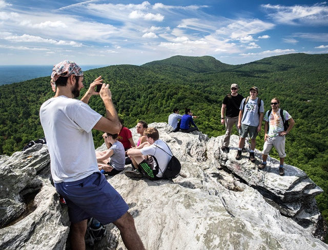 The Hanging Rock outcrop was the last peak for the challenge and offered a chance to rest and enjoy the view.