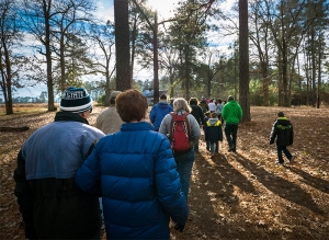 Visitors share the first-ever First Day Hike at the new Carvers Creek State Park last year.