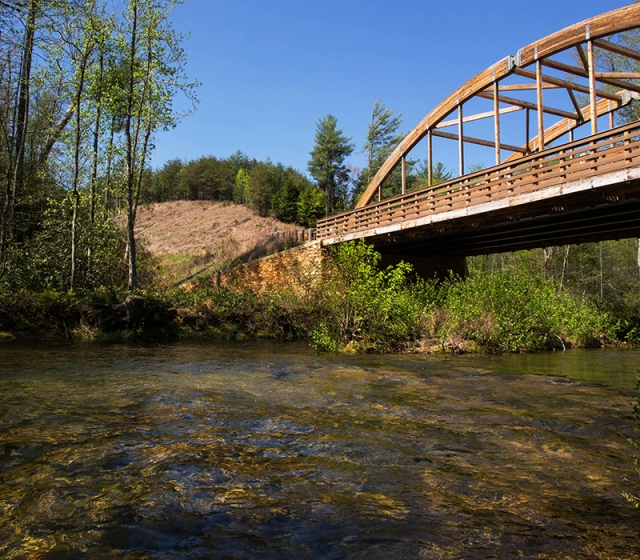 Bridge over Paddy's Creek has become a signature landmark at Lake James State Park.