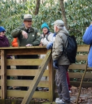 A ranger answers questions at Stone Mountain State Park.