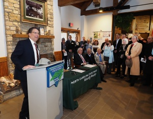 Gov. Pat McCrory speaks to parks supporters.