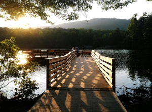 An new, accessible pier was finished in late 2013 on the 12-acre lake.