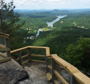 View of Lake Lure from the Grotto on Chimney Rock Mountain.