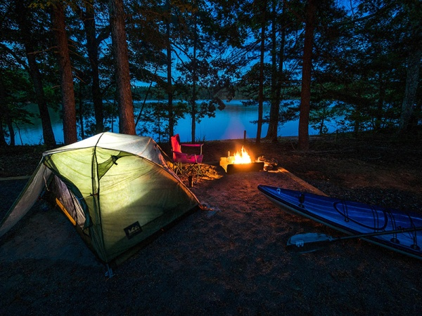 Boat-in campsites at Lake James provide a new mountain lake experience.