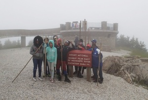 The NEC group 'in the clouds' at Mount Mitchell State Park.