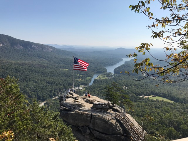 Chimney Rock Flag and Lake Lure