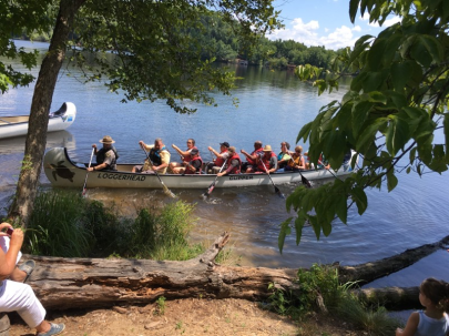 Our first Big Canoe adventurers head out on the Loggerhead's maiden voyage at Morrow Mountain State Park