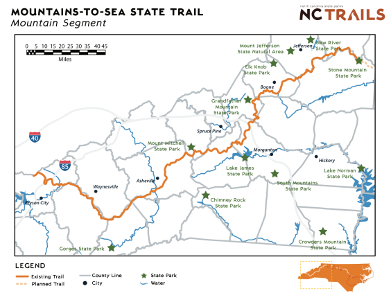 Mountains-to-Sea State Trail Map - Mounatin Segment Complete copy